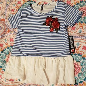 NWT Insta Girl Sz M (5/6) Floral/Striped Top